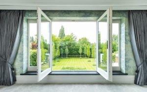 window showing beautiful garden landscape